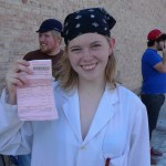 young lady with a traffic ticket