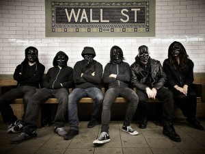 gang wearing masks