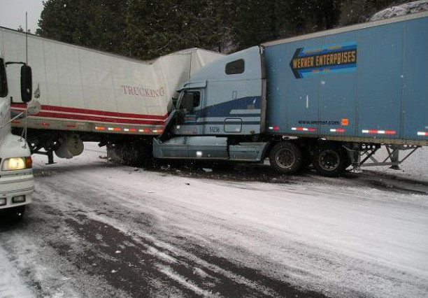 Two semi's wreck on snowy road