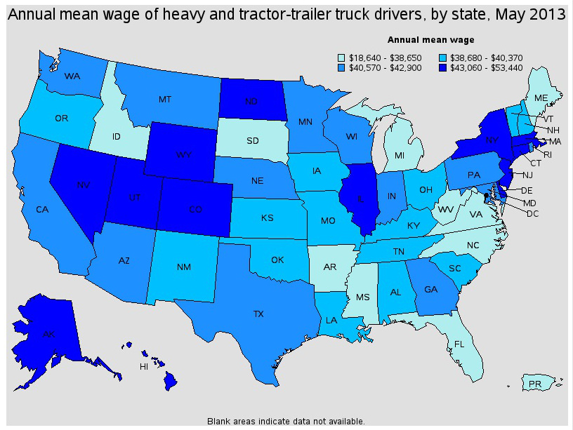 local truck driver pay by state