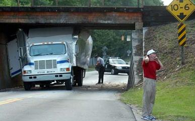 truck hit overpass